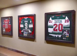 Framed MN Wild Captains Jerseys at the Xcel Center