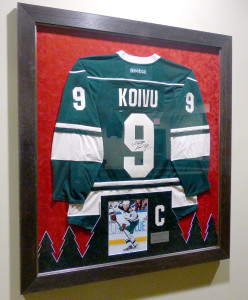 Framed Koivu Jersey at the Xcel Center