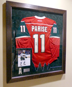 Framed Parise Jersey at the Xcel Center