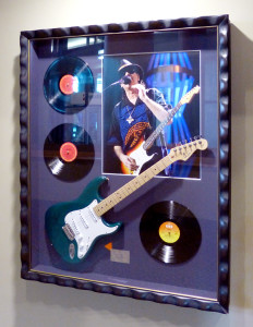 Framed Carlos Santana Guitar at the Xcel Center
