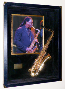 Framed Clarence Clemons Saxaphone at the Xcel Center