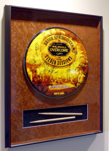 Framed Bruce Springsteen signed Drum Cover & sticks at the Xcel Center