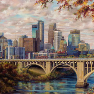 Autumn Skyline of Minneapolis by Susan Amidon