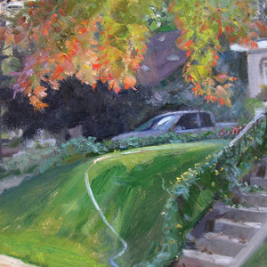 Arrangement in Leaves, Truck, & Hose by Scott Lloyd Anderson, 16x12 Oil