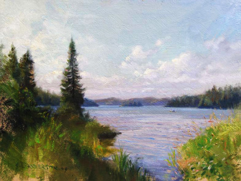 Canoeing on West Bearskin Lake by Scott Lloyd Anderson