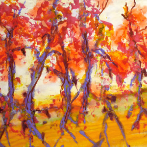 Red Trees Walking by Sylvia Benson, 16x12 Encaustic