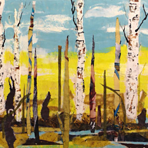 Walk with Summer Birch by Sylvia Benson, 24x12 Encaustic