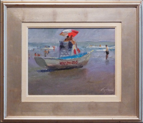 Beach Patrol by Richard Kochenash, 14x11 Oil