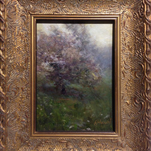 Misty Blossoms by Richard Kochenash, 5x7 Oil