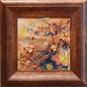 Burst of Fall by Julie Schroeder, 8x8 Encaustic