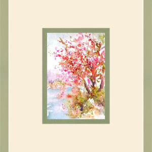 Cherry Blossom River by Julie Schroeder, 6x9 Watercolor
