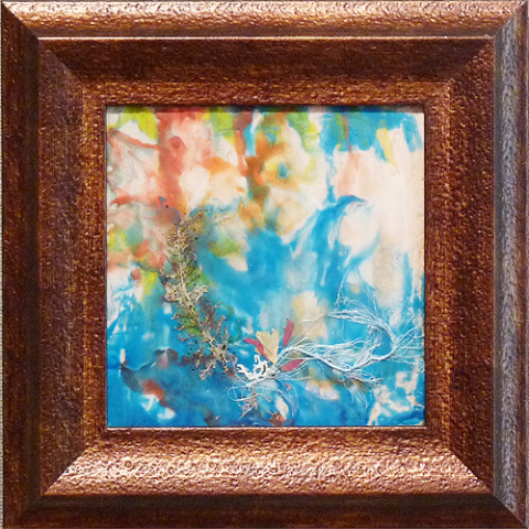 Sea Splash by Julie Schroeder, 8x8 Encaustic