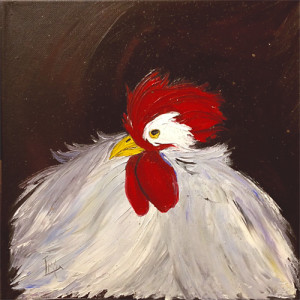 Fluffed Out by Laurie Swanson, 12x12 Oil
