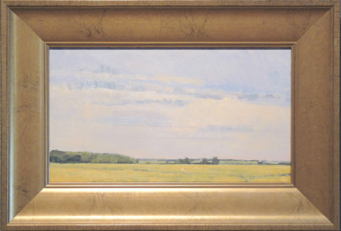Cold Front Over Lowry Field by Ben Bauer, 14x8 Oil, Framed