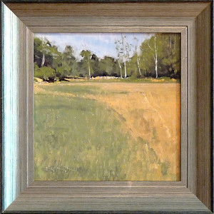 Fresh Mow with Birches by Ben Bauer, 12x12 Oil, Framed