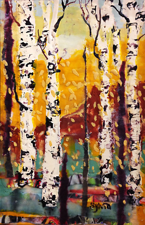 Birch with Turquoise by Sylvia Benson, 8x12 Encaustic