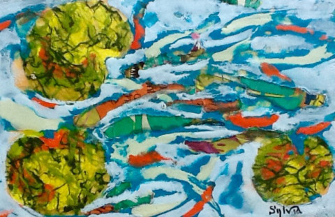 Koi Frenzy by Sylvia Benson, 12x8 Encaustic