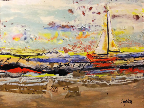 Single Sailboat by Sylvia Benson, 16x12 Encaustic
