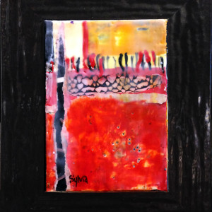 Sunset on Red by Sylvia Benson, 5x7 Encaustic