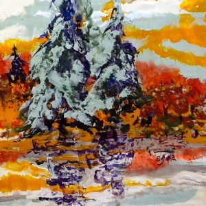 Autumn Flair by Sylvia Benson, 12x16 Encaustic