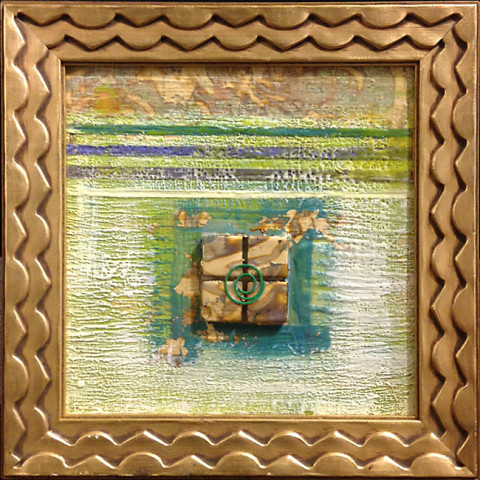 Textured Warm & Gold I by Sylvia Benson, 8x8 Encaustic