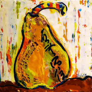 Yellow Pear by Sylvia Benson, 8x8 Encaustic