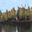 Floating Tamaracks by Reid Thorpe, 36x12 Oil