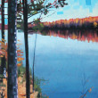 Otter Lake Campsite Reflection by Reid Thorpe, 18x36 Oil