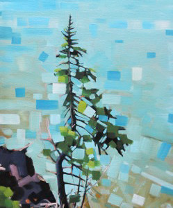Cascade Park Pine by Reid Thorpe, 10x20 Oil