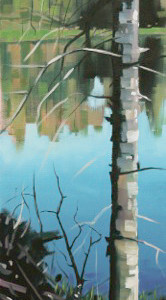 Chain Lake Reflection by Reid Thorpe, 8x24 Oil