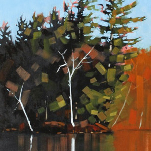 Island Reflection Fragment by Reid Thorpe, 10x30 Oil