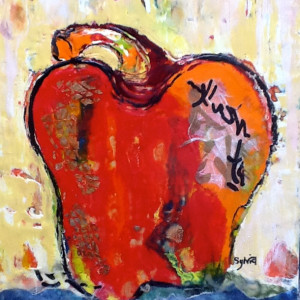 Red Hot Pepper by Sylvia Benson, 10x12 Encaustic