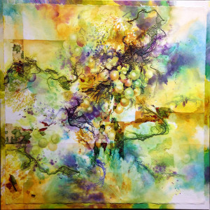 Chardonnay by Julie Schroeder, 24x24 Watercolor on Canvas