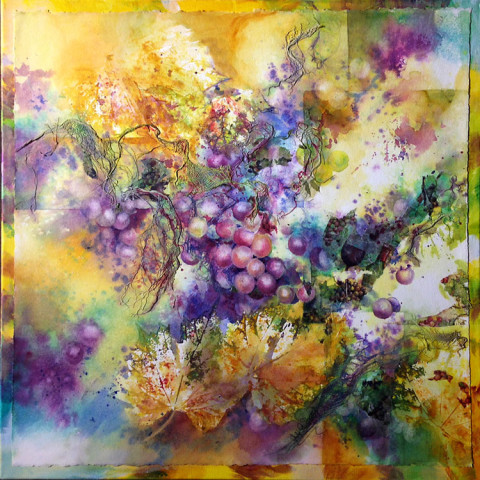 Merlot by Julie Schroeder, 24x24 Watercolor on Canvas