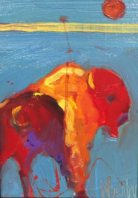 Bison Blue by Stephen Wysocki, 5x7 Oil