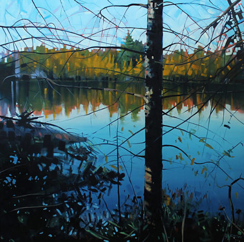 Floating Tamarack Bog by Reid Thorpe, 48x48-Oil