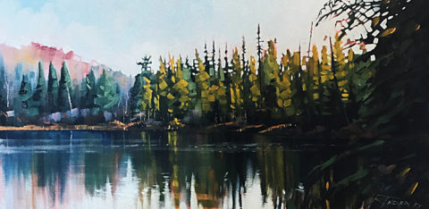 Otter Lake Tamarack Bog by Reid Thorpe-24x12 Oil