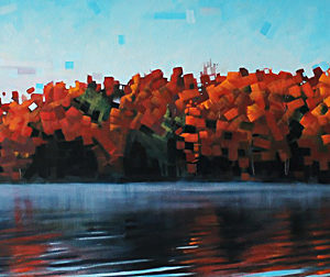 Seven Island Lake Autumn Reflection by Reid Thorpe, 72x24-Oil