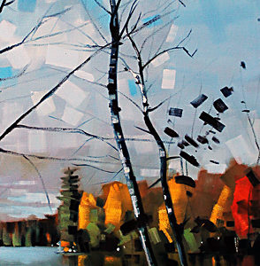 Seven Island Lake Birch by Reid Thorpe, 12x36-Oil
