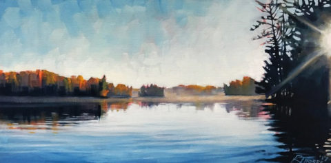 Seven Island Lake Sunrise by Reid Thorpe, 24x12-Oil