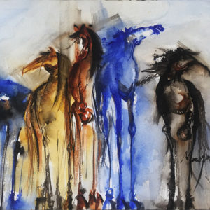 5 Horses by Terry Meyer, 22.5x15-Watercolor