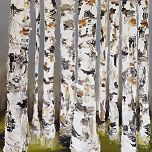 A Stand of Birch by Terry Meyer, 72x30-Oil