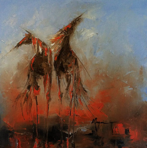 Magma Horses by Terry Meyer, 24x24-Oil