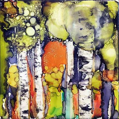 Birch with Orange Sun 3 by Sylvia Benson, 6x6, Alcohol Ink at Kelley Gallery Art & Frame in Woodbury, MN