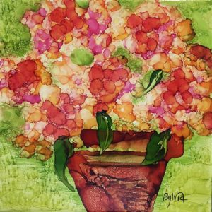 Potted Pansies by Sylvia Benson, 12x12, Alcohol Ink at Kelley Gallery Art & Frame in Woodbury, MN