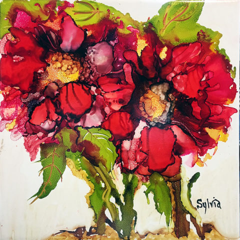 Pretty Peonies by Sylvia Benson, 12x12, Alcohol Ink