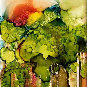 Rainforest 7 by Sylvia Benson, 4.25x8.5, Alcohol Ink at Kelley Gallery Art & Frame in Woodbury, MN