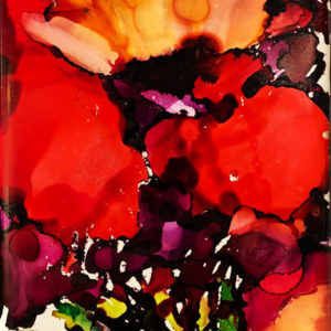 Red Iris 9 by Sylvia Benson, 4.25x8.5, Alcohol Ink