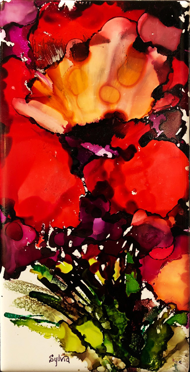 Red Iris 9 by Sylvia Benson, 4.25x8.5, Alcohol Ink at Kelley Gallery Art & Frame in Woodbury, MN