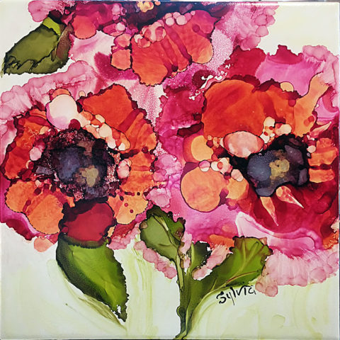 Vivid Trio by Sylvia Benson, 12x12, Alcohol Ink at Kelley Gallery Art & Frame in Woodbury, MN